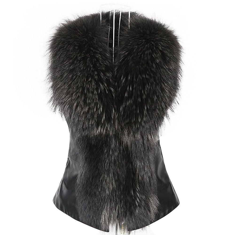 97f01e750be76 Women Faux Fur Collar Vest Jacket Hot Sleeveless PU Leather Splice Winter  Warm Coat Waistcoat Gilet Russian Female Outwear Dec15