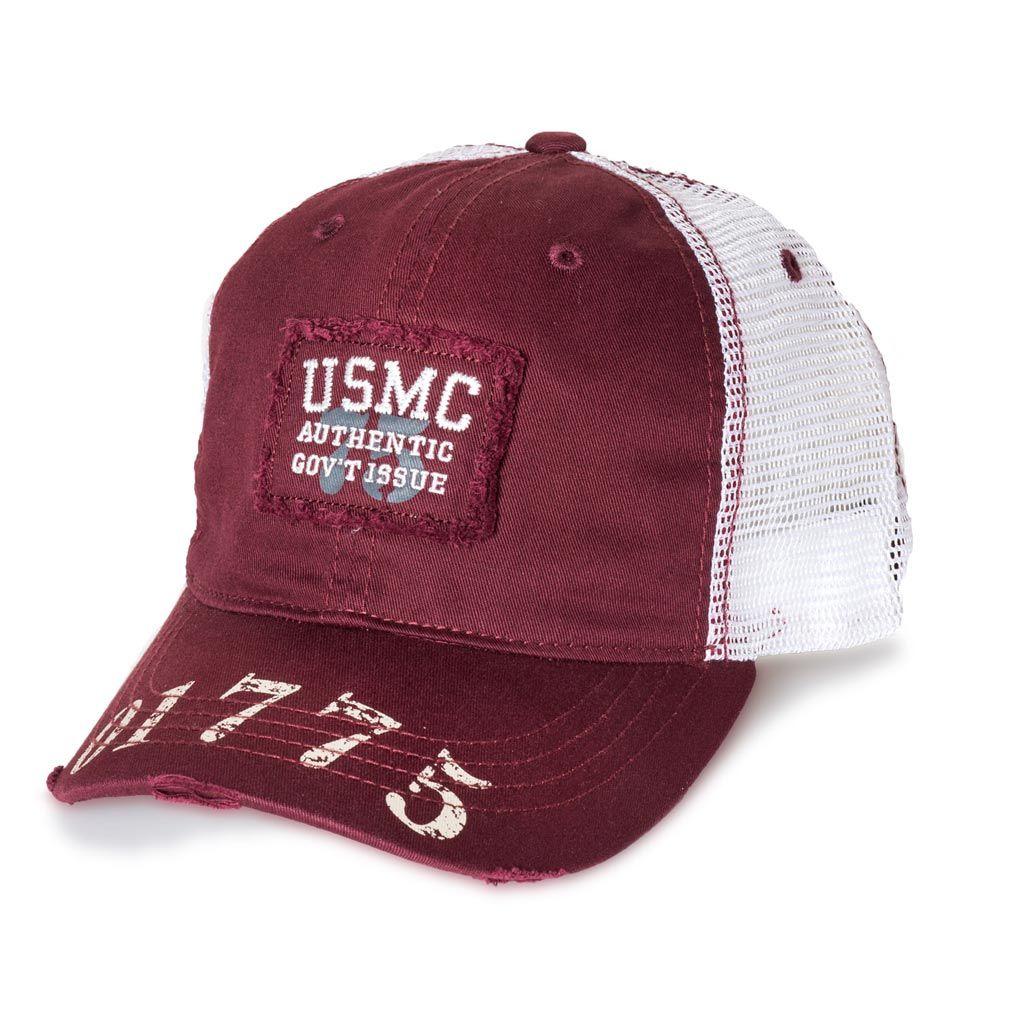 Distressed Trucker Cap Cotton Mesh Low Profile USA UNITED STATES MARINE CORPS