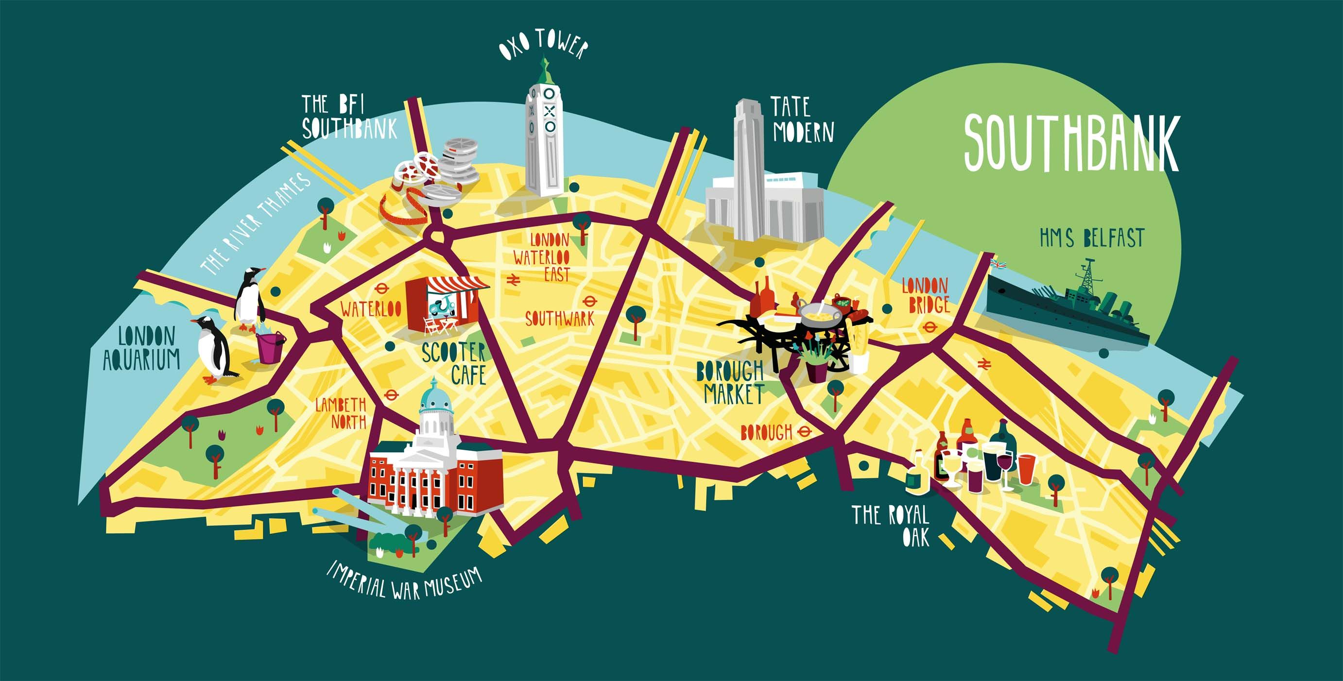 southbank map illustration kerryhyndman