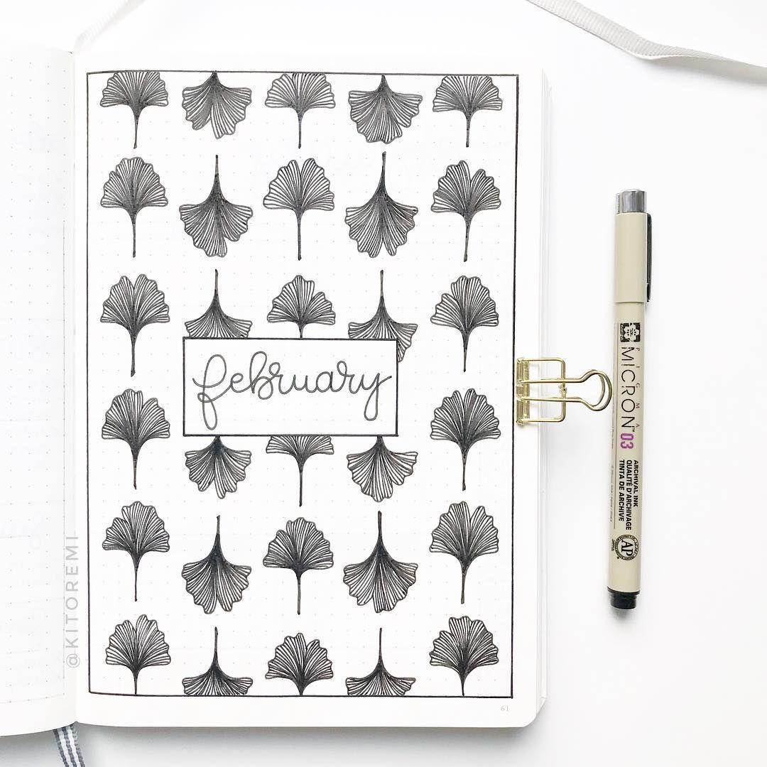 #month #monat #kalender #übersicht #vorlage #zeichnen #cover #ginkgo #leaves #blackandwhite #birthdaymonth
