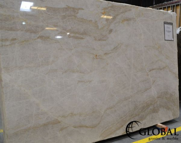 Taj Mahal Quartzite Slab Light Cream To Yellow Background With