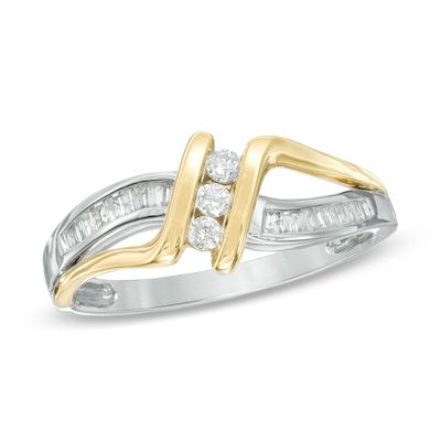 Zales 1/10 CT. T.w. Diamond Three Stone Bypass Ring in Sterling Silver and 10K Gold EdAzM7