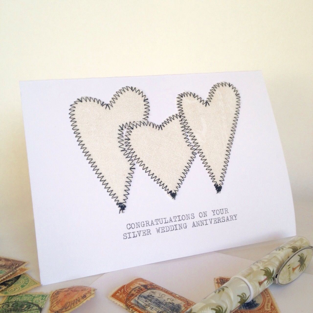 Screen Printed Fabric Silver Heart Card With The Typed Message
