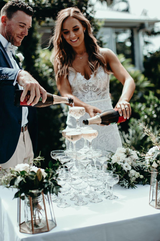 Champagne tower wedding ideas modern wedding boho wedding