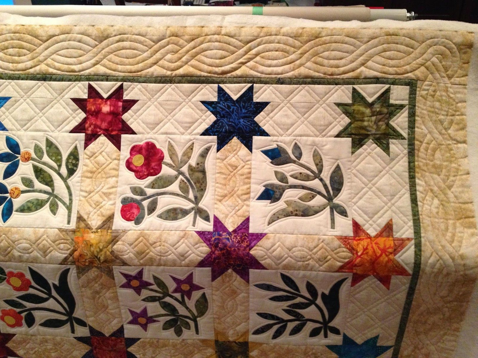 Quilting on Superior Spring Sprouts quilts