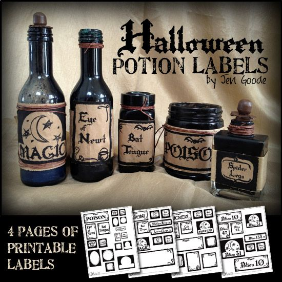 Printable Halloween Potion And Witch S Brew Labels 100 Directions Halloween Potions Halloween Printables Halloween Bottles