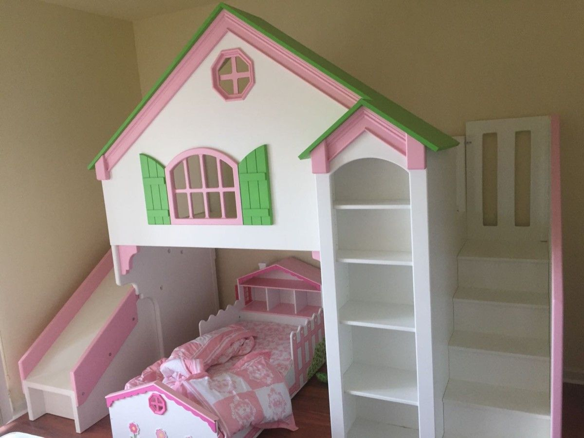 Dollhouse Loft Bed With Slide And Staircase In 2019 Home Bed