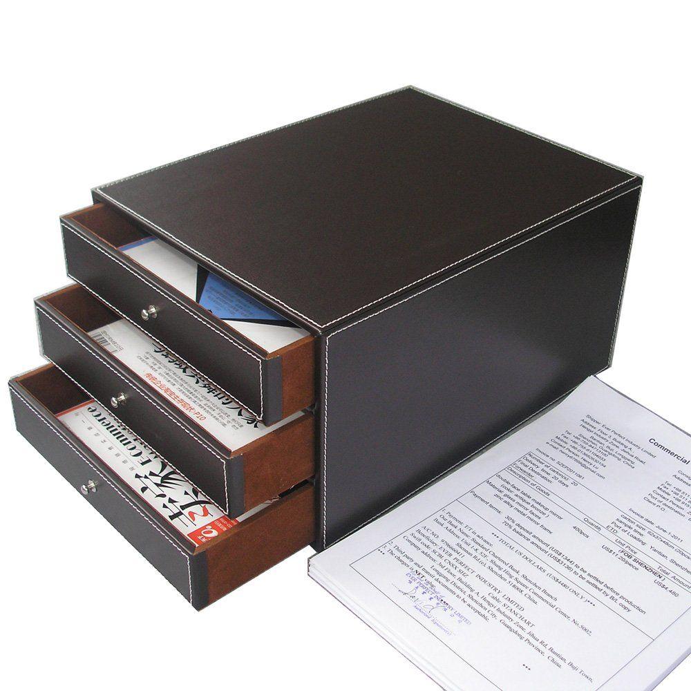 Kingfom 3 Drawer Layer Pu Leather Office Filing Cabinet Desk File Organizer Holder Storage Box Brown