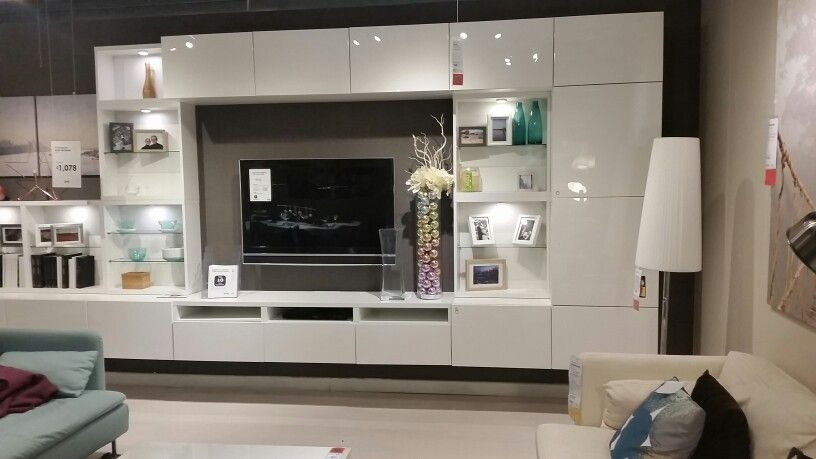 Like the sleek glossy look could consider closed side towers if not too closed off looking - Tv wall units ikea ...
