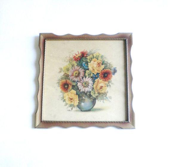Vintage Framed Floral Print Dutch Garden Flowers by BeppieandEido, $11.00