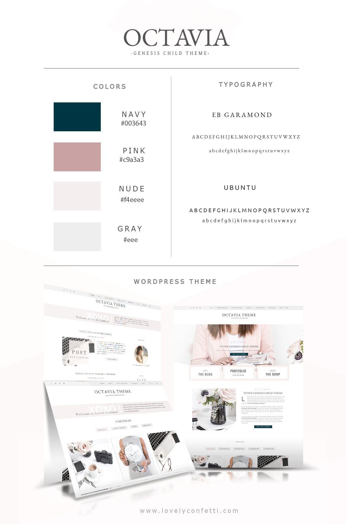 Octavia new feminine WordPress theme for creatives LovelyConfetti