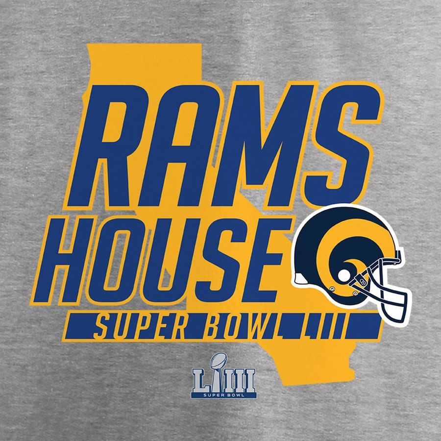 Los Angeles Rams Nfl Pro Line By Fanatics Branded Super Bowl Liii Bound Hometown Slogan Long Sleeve T Shirt Heather Gray Los Angeles Rams Nfl Flag Super Bowl
