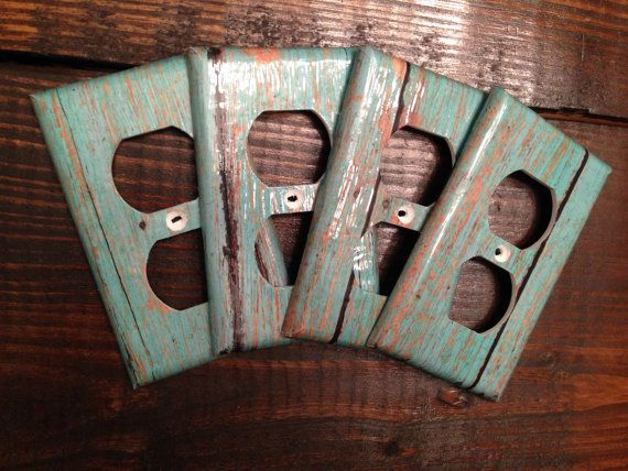 Rustic Distressed Teal Wood Grain Set Of 4 Decorative Electrical Outlet Covers