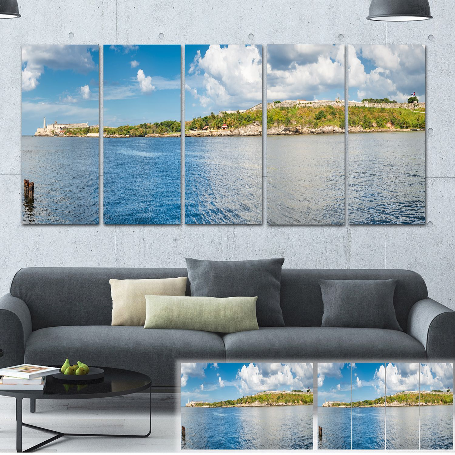 Herman miller canvas office landscapes youtube - Designart The Bay Of Havana Panorama Seascape Photo Canvas Print By Design Art