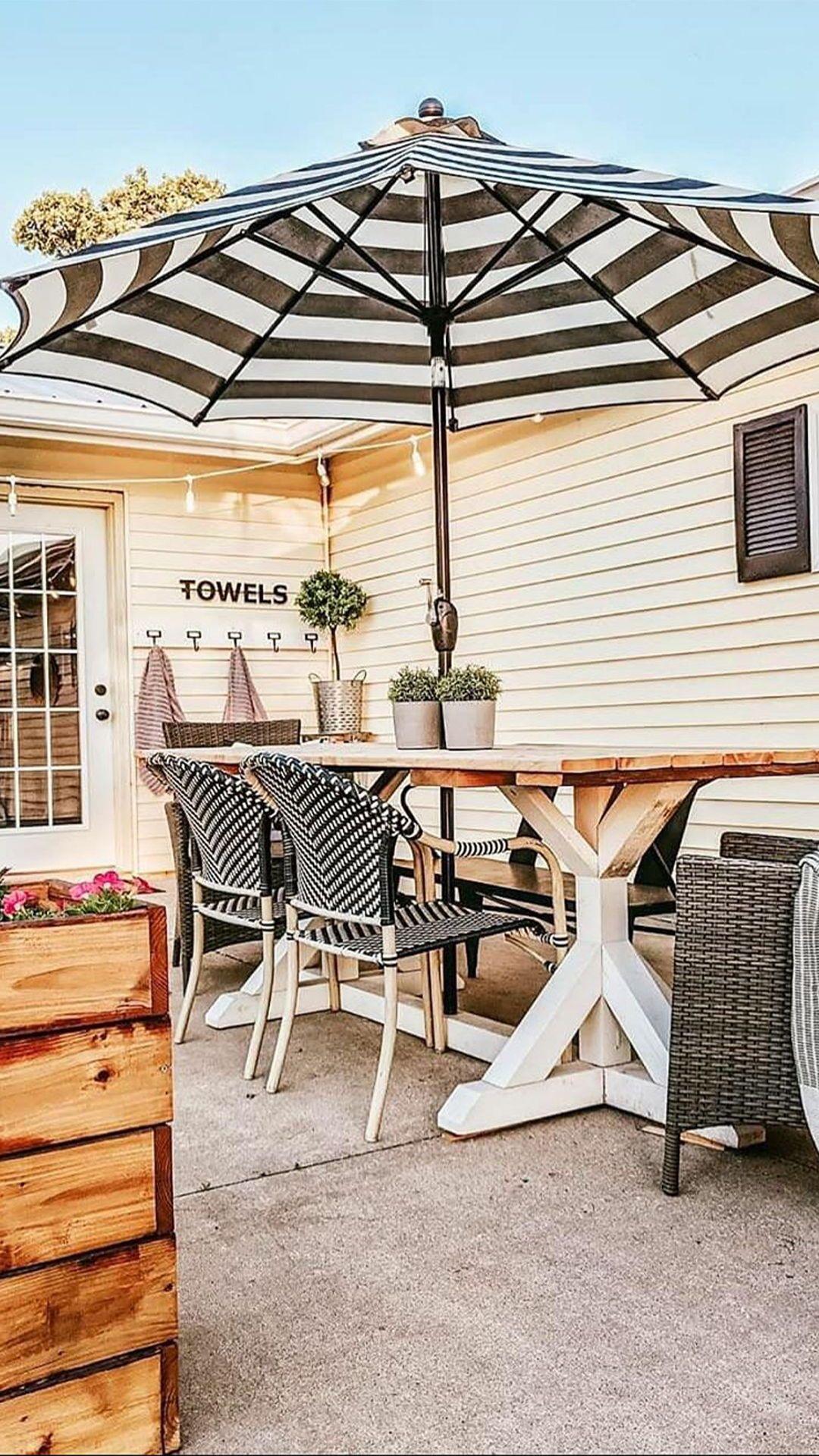 Better Homes Gardens 9 Outdoor Market Patio Umbrella Ibiza Stripe Walmart Com Outdoor Patio Umbrellas Outdoor Patio Farmhouse Patio