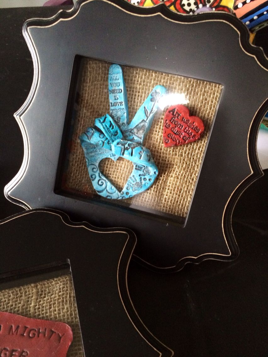 Art teacher's gift. Made with sculpy clay, stamps, acrylic paint, and mounted in a shadow box.