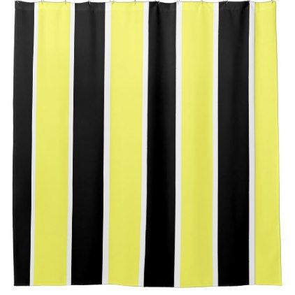 Black Yellow And White Stripes Shower Curtain