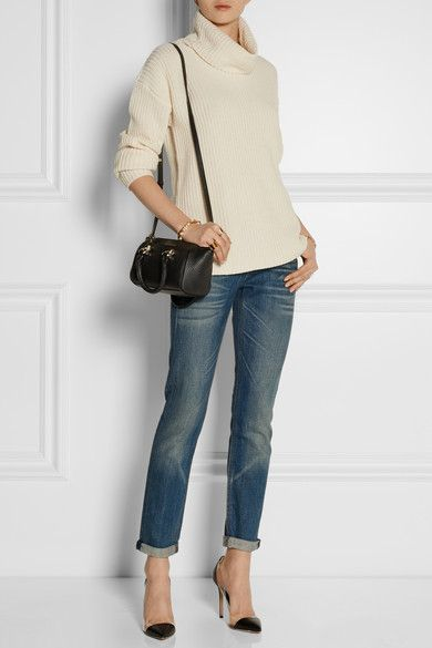 Theory turtleneck sweater, Rag & Bone jeans, Diane von Furstenberg mini duffel bag