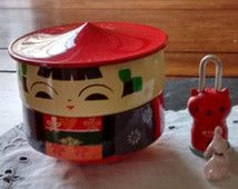 small red kokeshi bento stacking picnic snack container vintage Easter Mother's day gift Japanese plastic lacquerware trinket jewelry box