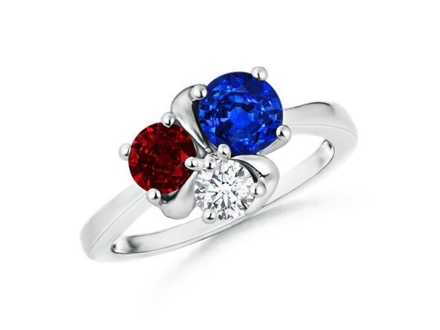 Angara Prong Set Trio Stone Blue Sapphire and Diamond Ring in Platinum 9gAs4