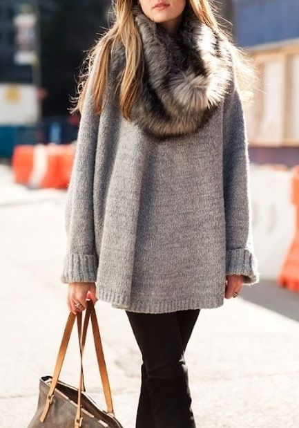 Mink scarf and oversized sweater.