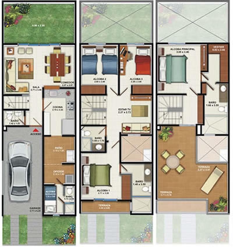 Plano de casa de 160m2 3 pisos 4 dormitorios planos de for Planos de casas modernas gratis
