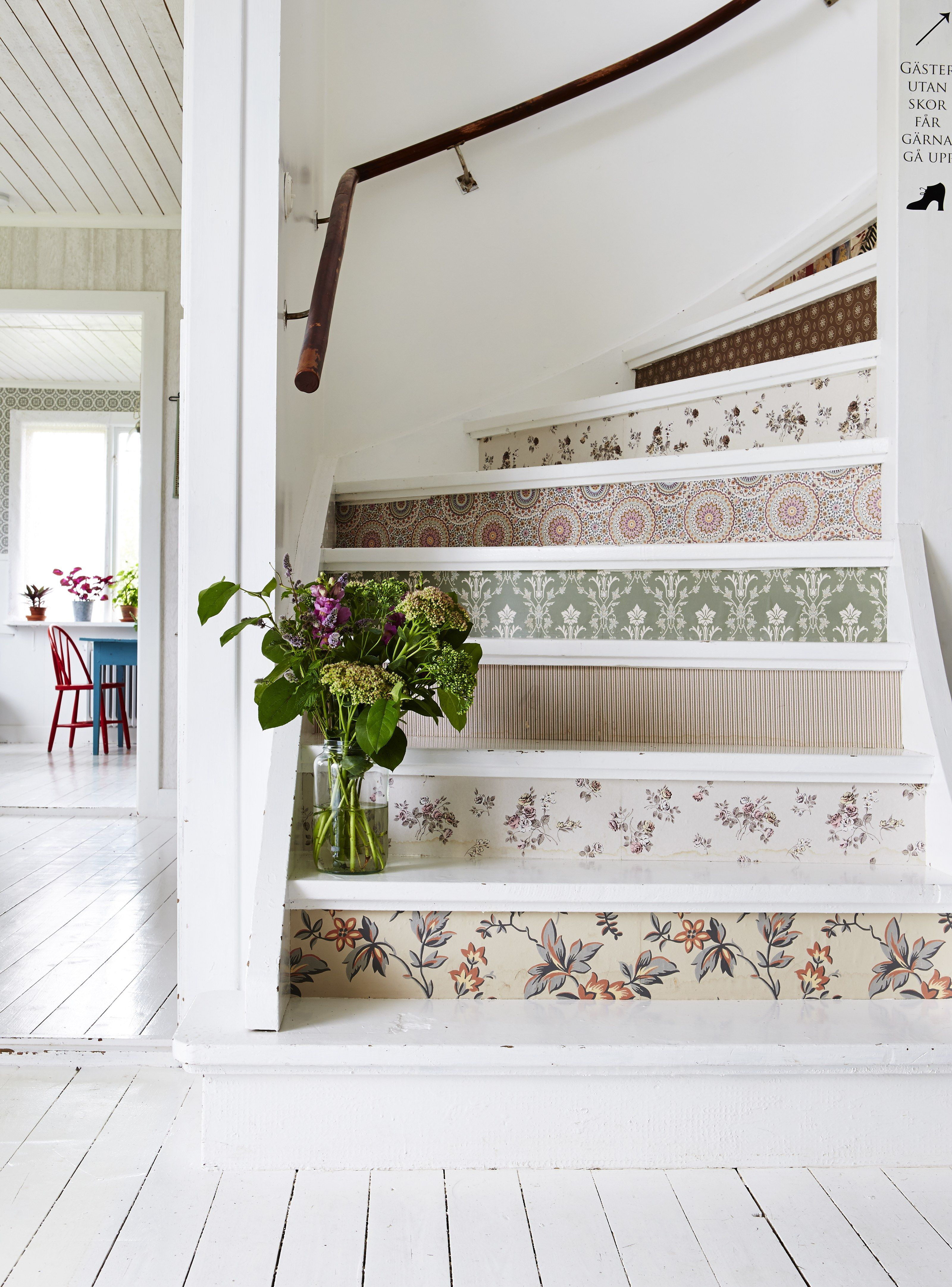 Floral inspired patterns can pop up in unexpected places such as stair risers