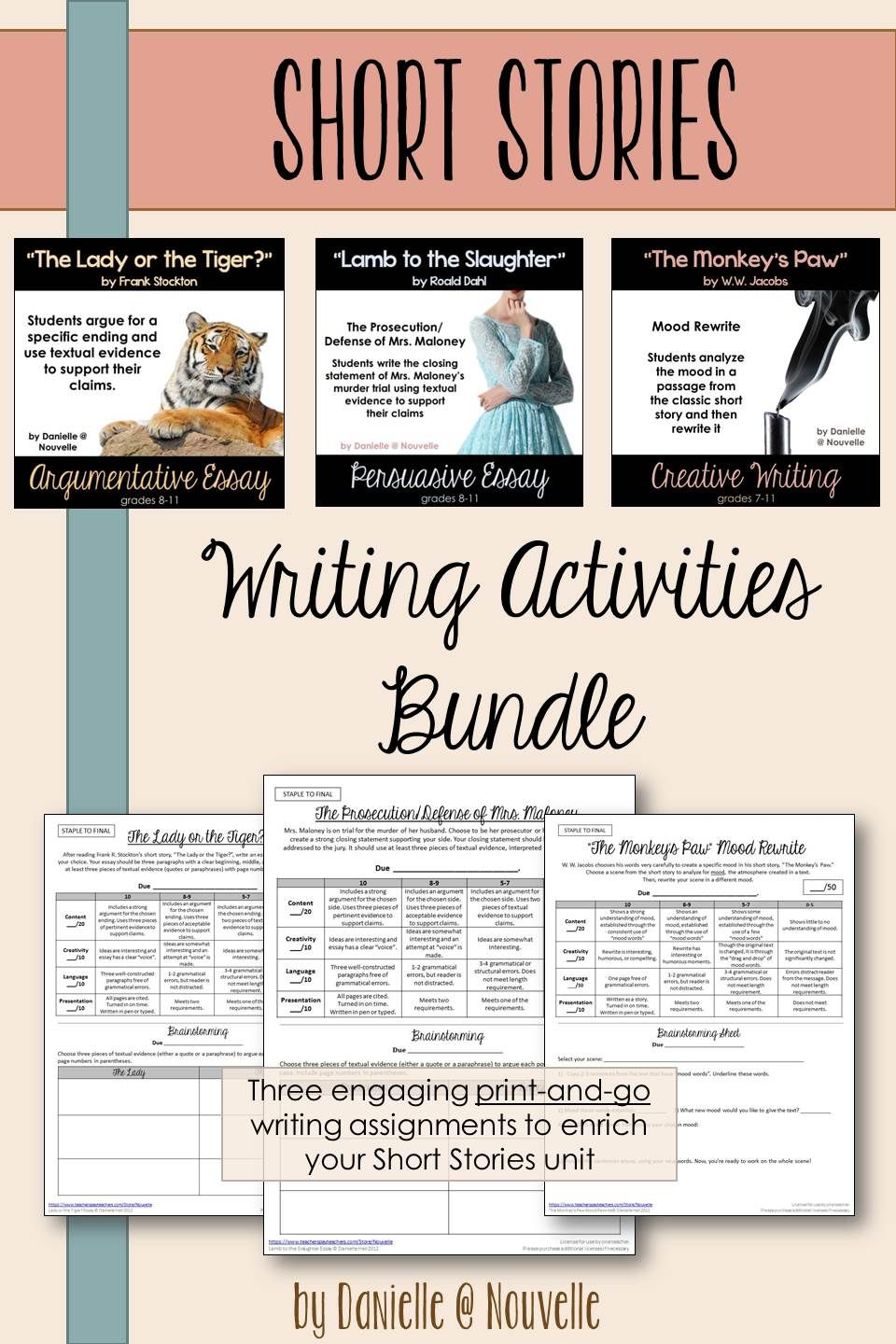 short stories  writing activities bundle  short stories for high  three fabulous writing activities to add to your short stories unit lamb  to the slaughter by roald dahl persuasive essay lady or the tiger