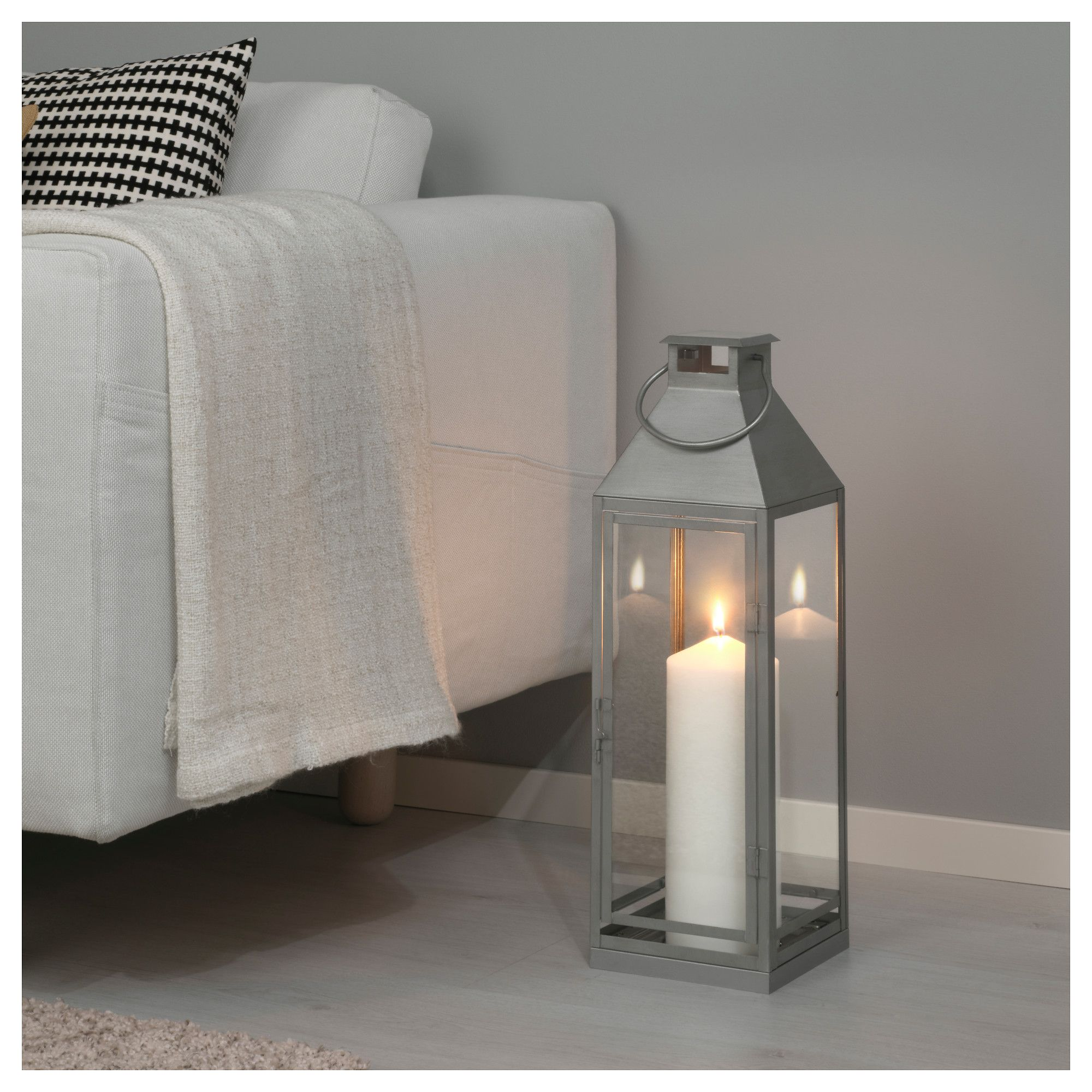 IKEA LAGRAD lantern f block candle in outdoor Suitable for both