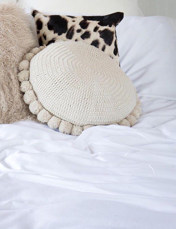 Biege Soleil 100 % Cotton Pom Pom Cushion home decor sofa