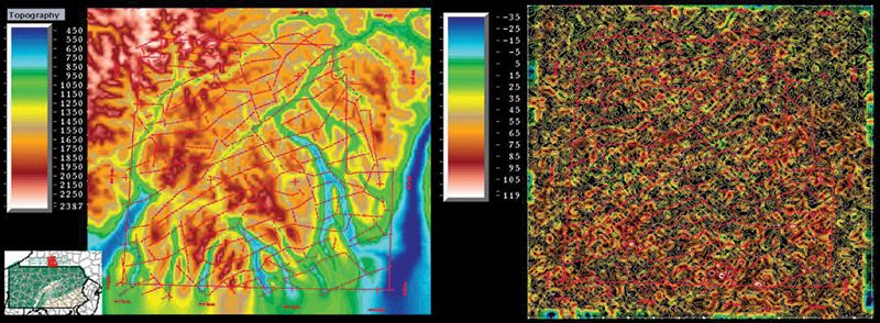 Topography (left) and lightning density in the Marcellus of Steuben County, New York.
