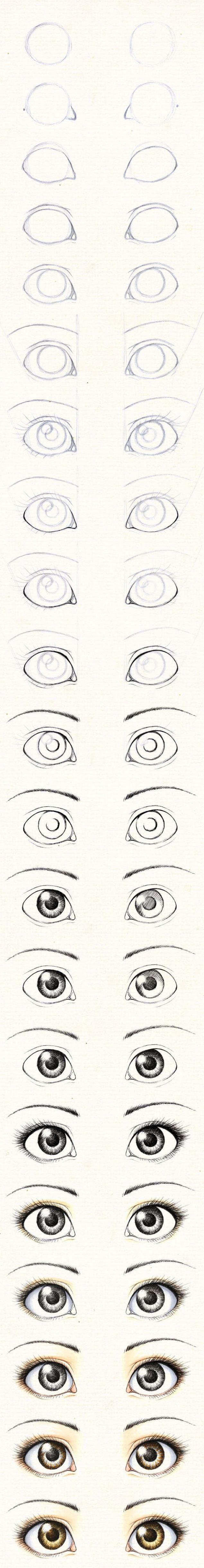 Guía para aprender a dibujar los ojos de las muñecas.   Dibujos ...