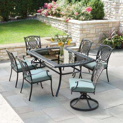 Belcourt 7 Piece Metal Outdoor Dining Set with Spa Cushions