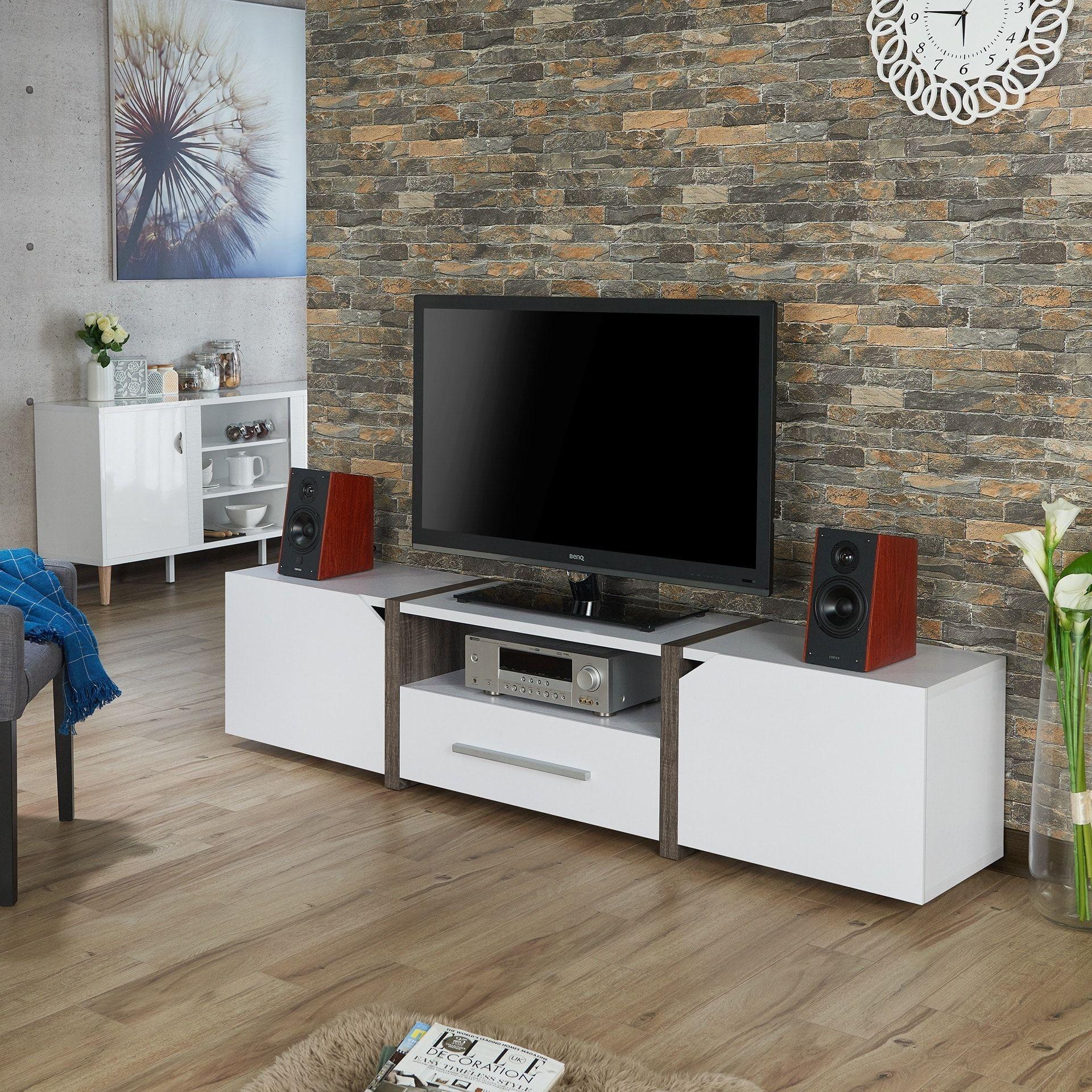 Furniture of America Glenad Modern Multi storage 81 inch TV Stand