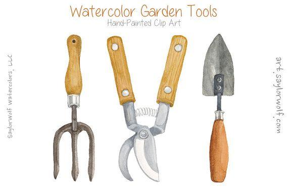 Garden Tools Watercolor Clip Art Hand Painted Gardening