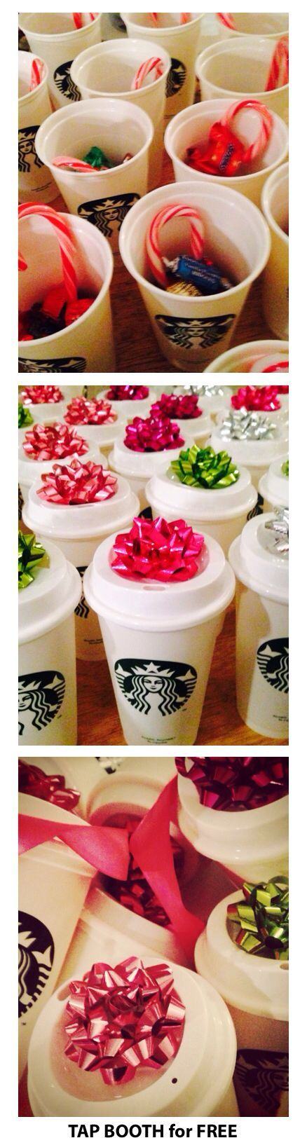 Starbucks for $1.00, fill with candy and add a colorful bow. Great gift for work, school, family gathering. Love.