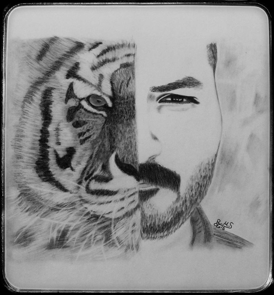 رسم نصف وجه انسان ونمر رغد الصالحي Animal Tattoo Drawings Charcoal Drawing