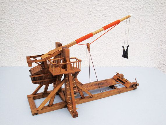 Model Trebuchet Or Throws Rocks Of Desk Made Wood With Functional Mechanism