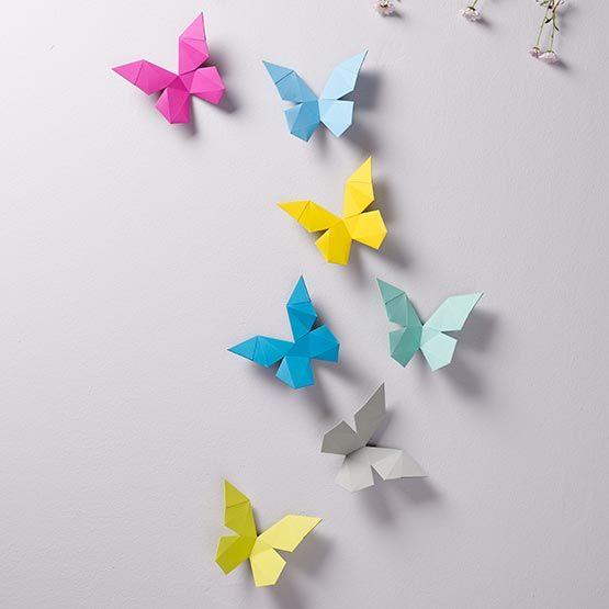 Wanddekoration Selber Machen , 3d Schmetterlinge Aus Papier Zum Selber Basteln Diy Papiertiere