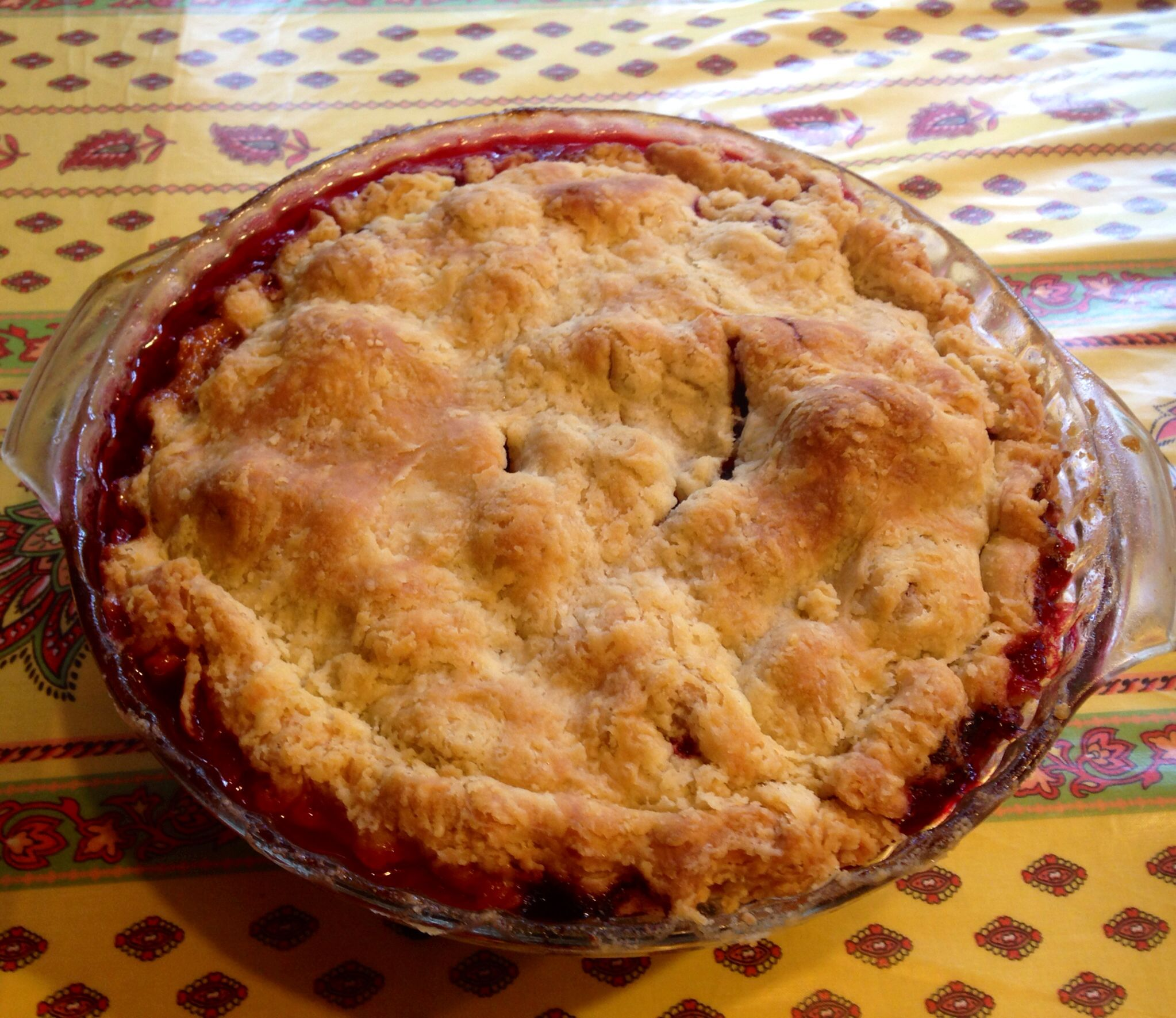 Fresh baked strawberry wild blueberry pie at the cottage