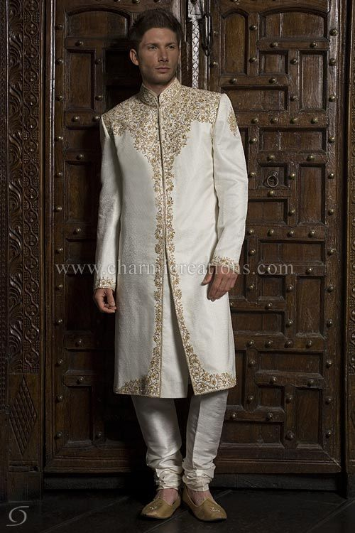Traditional Asian Brocade Silk Wedding Sherwani With Chains Of Diamante And Gold Jardosi Work