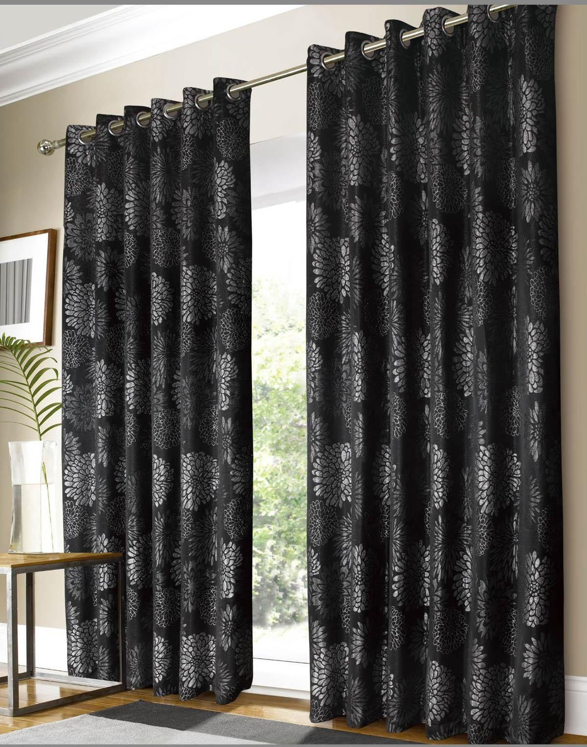 Dark purple patterned curtains - Black And Silver Curtains Images
