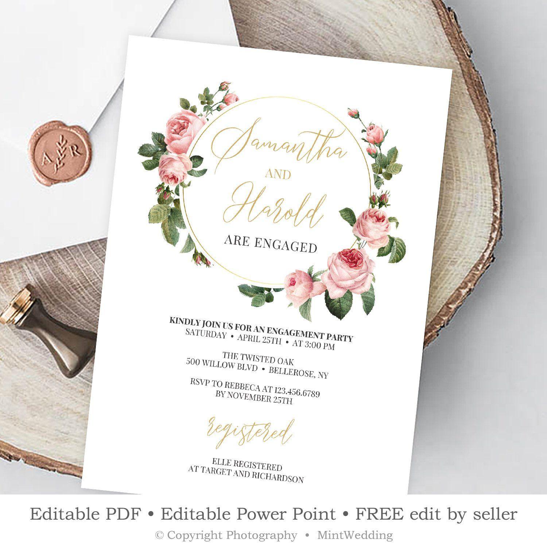 Blush Roses Engagement Invitation Editable Pink Free Engagement Party Invitations Templates Engagement Party Invitations Instant Download Wedding Invitations