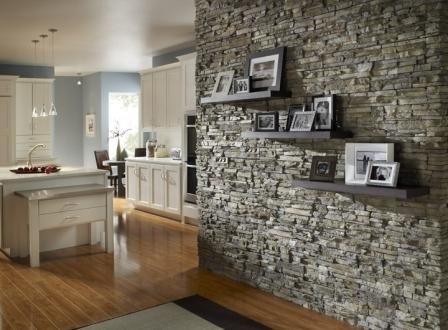 Beautiful Interior, Mesmerizing Interior Stone Wall Design With Wooden Flooring And  Railing Hanging Pendant Lamps Featuring Without Calm Colors Room: Awesome  Natural ...
