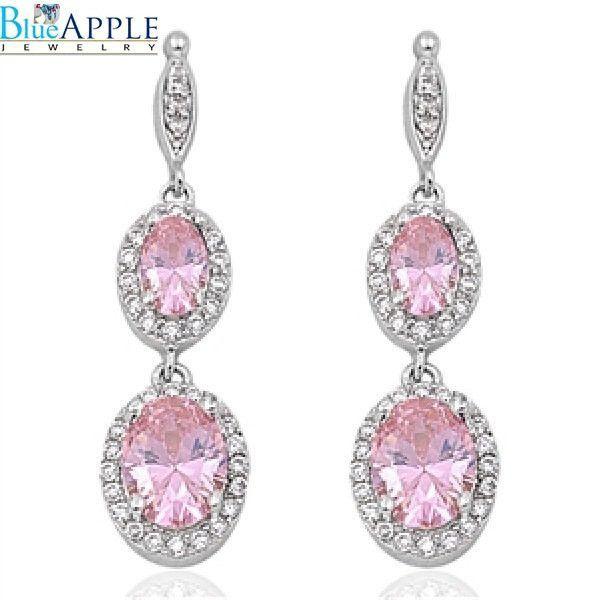 7b2e31eb6 Dangle Earrings 925 Sterling Silver Oval Cut Pink Topaz CZ Round Halo  Russian Iced Out Diamond CZ Drop Dangle Fancy Bridal Earrings Gift