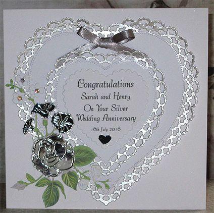 Handmade Personalised Silver Wedding Anniversary Card Golden