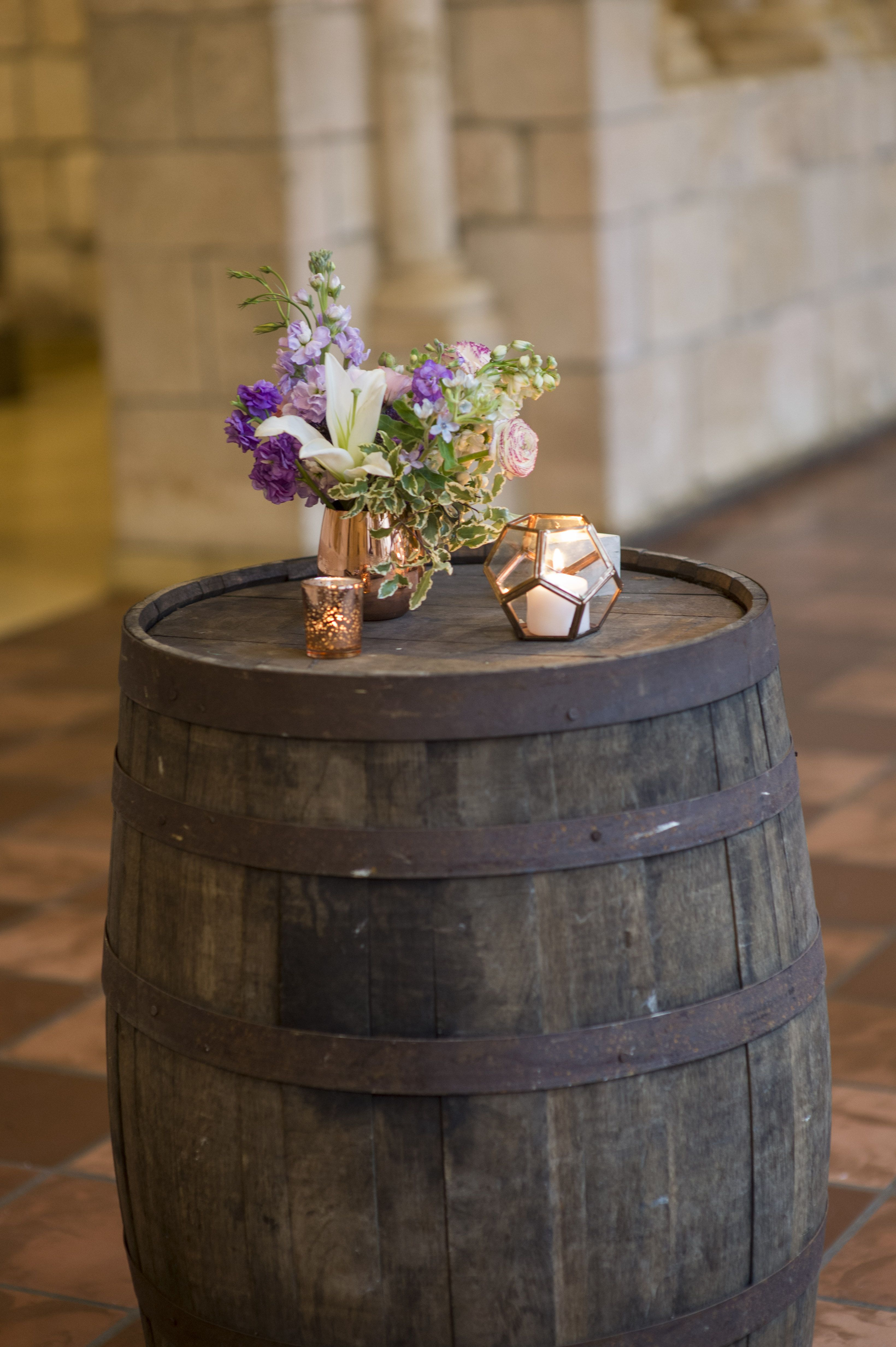 A little bit of rustic with our barrel and a spark of chic