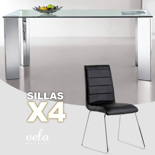 Mesa de comedor fija en cristal transparente y sillas color NEGRO ...