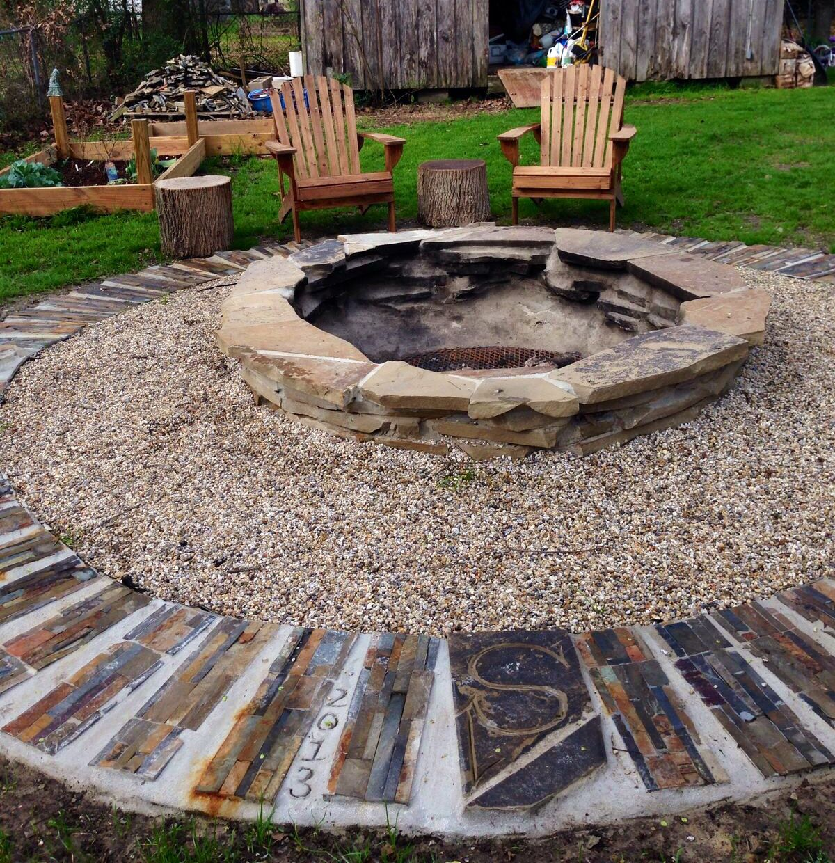 Fire Pit Diy Flagstone Work Done By Dennis Lorenz Baton Rouge