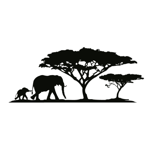 wall tattoo elephant mother with elephant baby and trees #